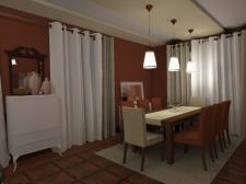Терракотовые гостиная с кухней