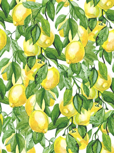 Бесшовный паттерн ветки лимонов. Акварель