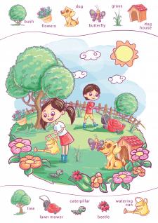 Иллюстрация книги по изучению иностранного языка
