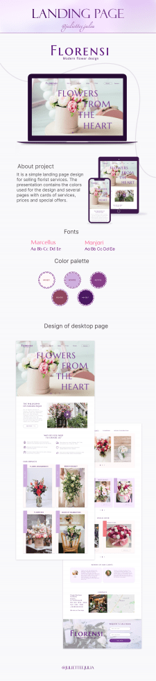 Landing page for florists services