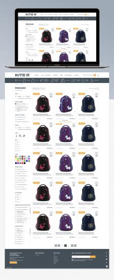 Дизайн интернет-каталога рюкзаков MyKite