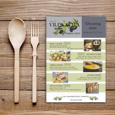 Дизайн меню для Villa Oliva в Ниагара-Фоллс