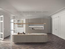 3d визуализация кухни с островом для каталога