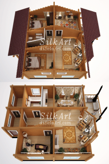 Визуализация планировки деревянного дома
