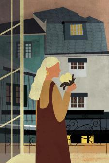 Девушка на фоне старого города