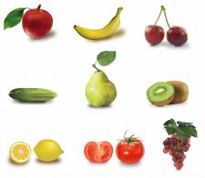 Овощи, фрукты(вектор)