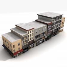 Low poly блоки зданий.