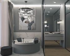 Визуализация  санузла с круглой ванной