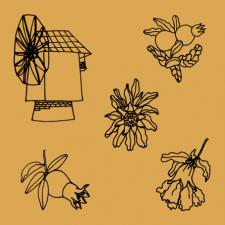 мельница и цветущие гранаты