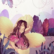 Digital illustration of Thumbelina