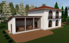 Модель загородного дома с верандой