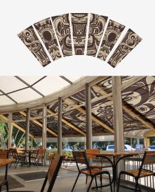 Дизайн панно в индейском стиле для навеса в кафе