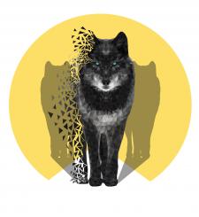 Иллюстрация в стиле low poly. Волк