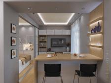 Дизайн гостиной в однокомнатной квартире 34м2
