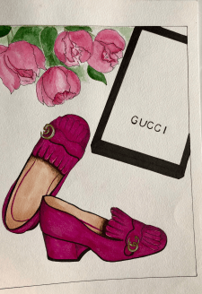 Fashion illustration of Gucci shoes