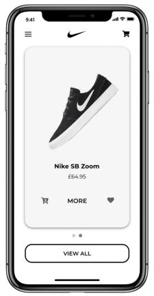 Дизайн-концепт моб. приложения Nike