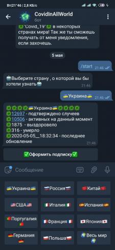 """Telegram bot """"CovidInWorld"""""""