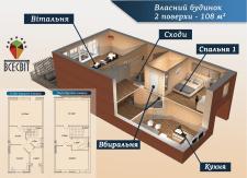 3D визуализация 2х этажного дома #1