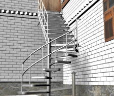 разработка, визуализация лестница металл
