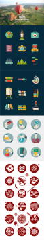 Travel Painter Business Food Icon Set
