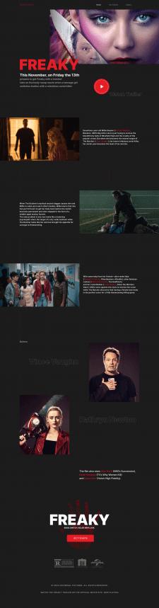 Промо сайт для фильма Дичь (Freaky)