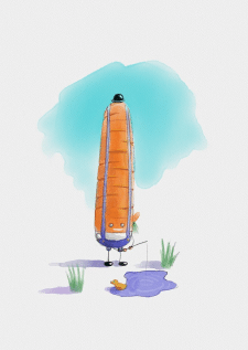 Веселая деревенская морковь рыбачит в луже)