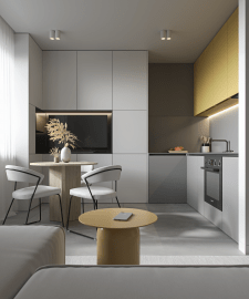 Дизайн кухни-гостиной и коридора.