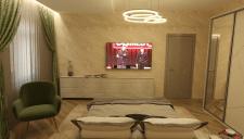 Визуализация спальной комнаты в нежных тонах