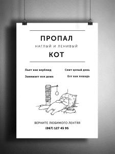 Объявление о пропаже кота