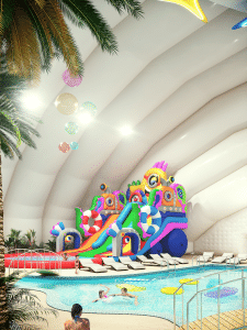 Аквапарк в надувном здании