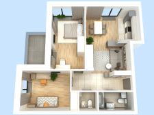 перепланировка 2-комнатной квартиры_3D планировка