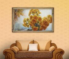Живопись «Осень, хризантемы»