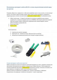 Распиновка интернет кабеля