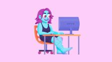 Девушка за работой