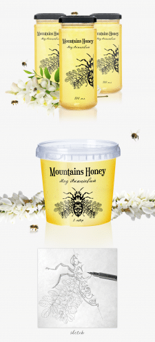 Разработка этикетки для мёда Mountains Honey