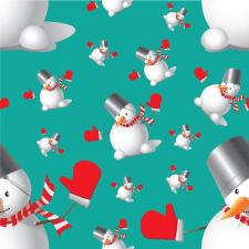 Christmas pattern with snowman/ векторная графика