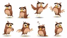 Cartoon owls vector illustration