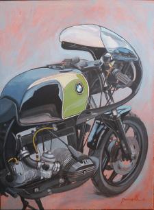 Картина с мотоциклом, акрил на холсте