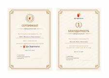 Дизайн сертификата и благодарности