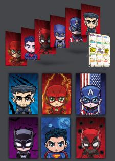 серия карманных календарей в стиле героев комиксов