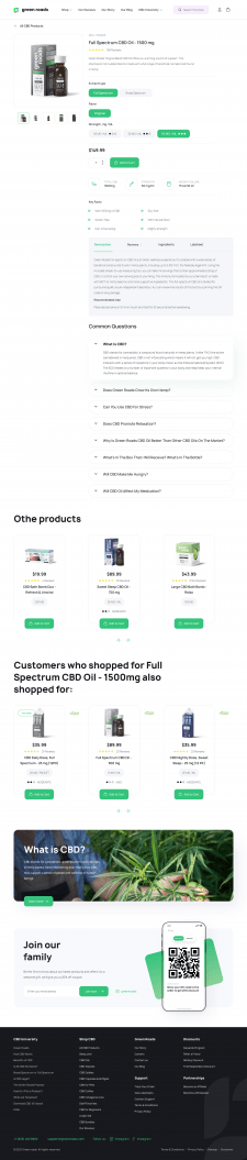 Green Roads Product page
