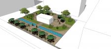 Реконструкция двора под летнюю площадку с кафе.
