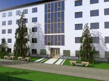 Мінімалізм зовн. середовища вхідної зони готелю
