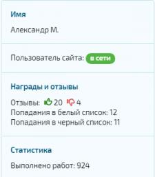 Скриншот статистики с биржи текстов