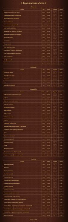 Наполнение меню для сайта ресторана