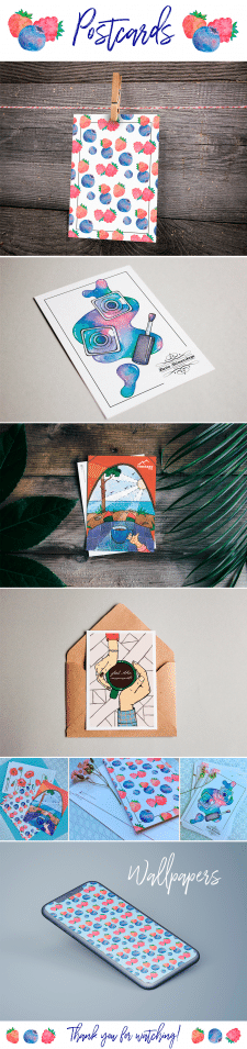 Illustrations for postcards