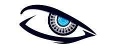 Логотип в виде агрессивного робо-глаза