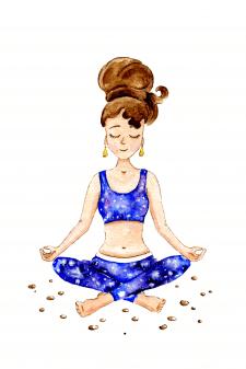 Медитация - акварельная иллюстрация