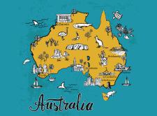 Иллюстрированная карта Австралии (веткор)