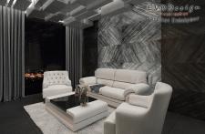 Визуализация комнаты в черно-белых тонах